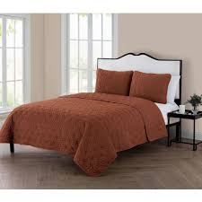 vcny home kaleidoscope 3 piece geometric embossed bedding quilt