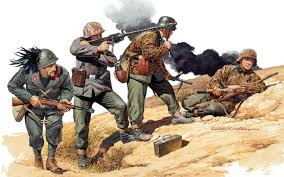 art world war 2 ww2 yugoslavia soldiers german italian weapons