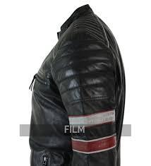 retro motorcycle jacket white u0026 red stripe leather jacket