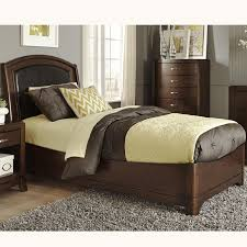 twin bed with arched leather headboard by liberty furniture wolf