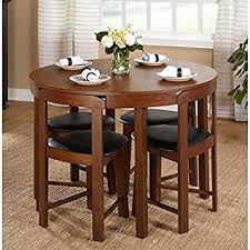 Dining Room Chair Set by Amazon Com 5 Piece Compact Round Dining Set Home Living Room