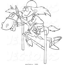 vector of a cartoon on a leaping horse coloring page