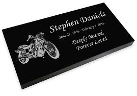grave markers for sale motorcycle grave marker black granite engraved memorial headstone