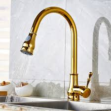 gold polished pull out spray kitchen sink mixer tap swivel spout