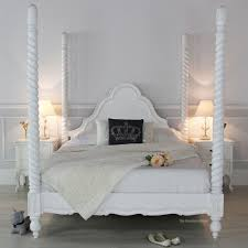 Double Bed Furniture Wood White Wood Four Poster Double Bed Four Poster Bed White White