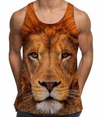 lion face mens holiday vests all over print big cat 3d tank