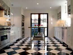 shining black and white floor tiles with modern recessed lighting