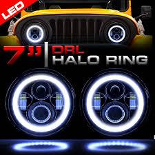 stock jeep headlights genssi 7 inch round halo projector headlamp set h6024 black