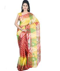 dhakai jamdani yellow and colour handloom dhakai jamdani saree at rs 1400