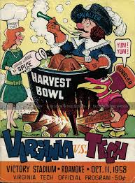 Uva Thanksgiving 1958 10 11 Virginia Tech Hokies Vs Of Virginia
