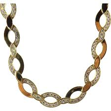 large gold link necklace images Vintage cartier 18k yellow gold and diamond oval link necklace jpg