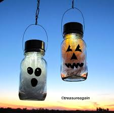 solar halloween mason jar lights pumpkin ghost halloween