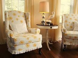 Furniture  Accessories Stunning White Yellow Dandelion - Slipcovers for living room chairs