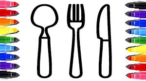 dining table plate fork and spoon coloring page youtube videos