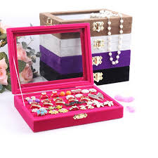 necklace earring display box images Quality jewelry tray with glass lid ring holder earring tray jpg