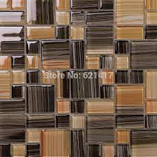 small and big square brown color crystal glass mosaic kitchen