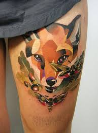 30 cute watercolor fox tattoos