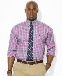 polo ralph lauren big and tall plaid twill sport shirt in pink for