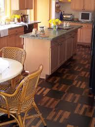 interior natural cork flooring in kitchen with white kitchen