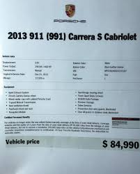 dealer inventory 2013 porsche 911 s cab 7 speed manual rennlist