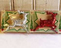 Glitter Deer Christmas Decor vintage reindeer etsy