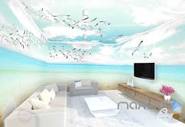 wallpaper for entire wall 3d seagulls beach heart sunny day entire room wallpaper wall murals