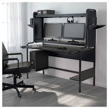 Computer Desk With Hutch Black by Fredde Workstation Black 185x140x74 Cm Ikea