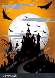 orange black halloween background scary halloween background moon old tree stock illustration