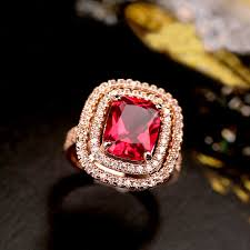 crystal pave rings images Brilliant amazing big orange champagne color stone ring square red jpg