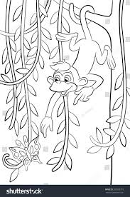 coloring pages little cute monkey hanging stock illustration