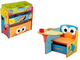kids toddler elmo chair desk and toy organizer box set with