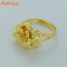 wedding gift gold anniyo small gold color flower ring for women flowers rings