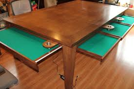 hand crafted game table w removable top cup holders u0026 pull out