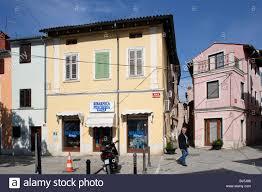 izola isola old town typical houses italian style slovenia stock