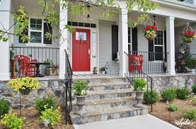 Front Porch Landscaping Ideas Front Porch Charming Front Porch Decoration With Red Wood Single