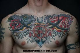 chion tattoos flower poppy navy chest