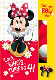minnie mouse 4th birthday card with inflatable bow greeting