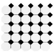 black dot octagonal porcelain mosaic 12in x 12in 912100643