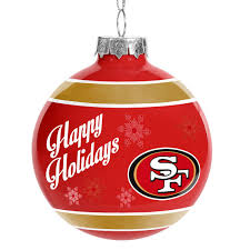 san francisco 49ers happy holidays glass ball ornament nflshop com