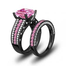 black and pink wedding ring sets 56 pink and white cubic zirconia cushion cut engagement ring 925