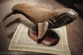 beautiful wood carving of right whale japan
