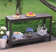 outdoor console table buffet patio garden wood gray sideboard