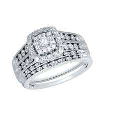 Trio Wedding Ring Sets by 0 46 Ct Tw Cushion Shape Frame Design Diamond Trio Wedding Ring
