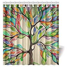 Circo Tree House Shower Curtain Amazon Com Oneoney Colorful Tree Of Life Gorgeous Like Feather