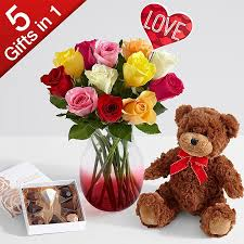 flowers for valentines day one dozen s rainbow roses 5 gifts in 1