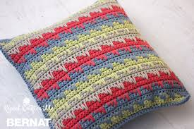 Knitted Cushion Cover Patterns Bernat Reversible Spike Stitch Pillow Cover Crochet Pattern