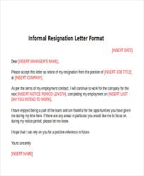sample informal resignation letter 4 examples in pdf word