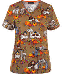about thanksgiving print scrub top scrubs