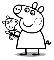 peppa pig and her teddy bear colouring pages for kids