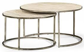 round nesting coffee table amazon com hammary round nesting table kitchen dining